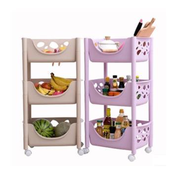 塑料蔬菜水果厨房置物架收纳筐落地多层三角架储物用品具3层篮子