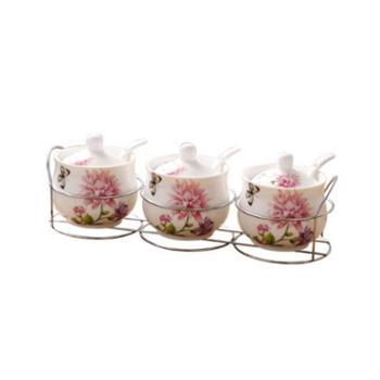 冠宇陶瓷调味罐厨房用品家用调料盒套装组合装调料瓶三件套油盐罐