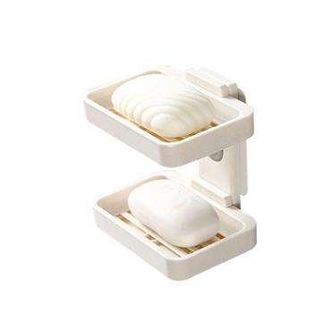 免打孔肥皂盒沥水创意壁挂香皂架浴室置物卫生间香罩吸盘双层皂盒