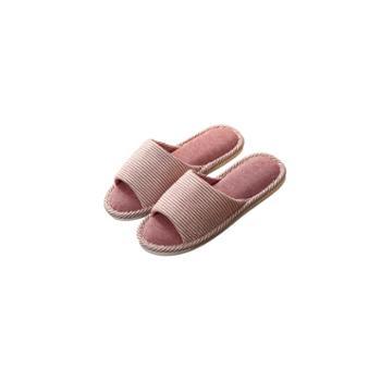 情侣棉拖鞋女夏日式亚麻居家室内木地板软底休闲防滑鞋