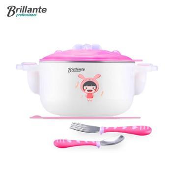 贝立安儿童不锈钢餐具双耳款不锈钢注水保温碗三件套BJH-CJ0301