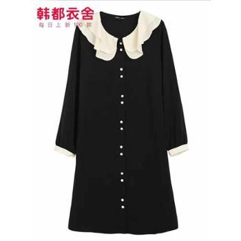 韩都衣舍韩版女装秋装娃娃领气质中长款连衣裙