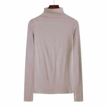 打底衫女高龄长袖女半高领长袖修身内搭秋季上衣中领纯色紧身棉T恤