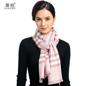 桑柏格子围巾女长款披肩粉色格子