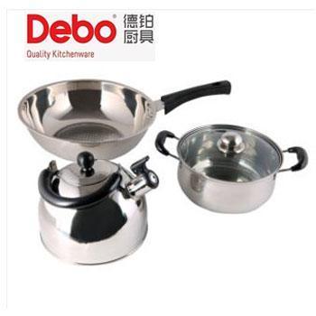 德铂/Debo 莱比锡之恋套装锅 不锈钢炒锅 可视玻璃盖汤锅 三层加厚复合底水壶组合 DEP-45
