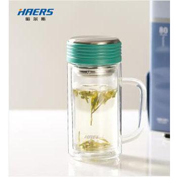 哈尔斯 玻璃杯 双层隔热玻璃杯400ml带茶隔泡茶杯带茶漏水杯玻璃水杯HBL-400B-46 400ml 颜色随机发