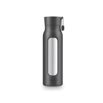 乐扣乐扣 娜姆高硼耐冷热杯套玻璃杯 黑色 350ml LLG651