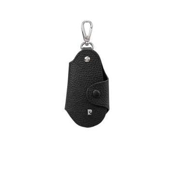 皮尔卡丹牛头层皮革男式钥匙包黑色JR9P515024-57A