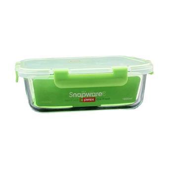 康宁 耐高温耐酸碱智洁扣玻璃保鲜盒长方形1000ML SN-EF1000RC/CN