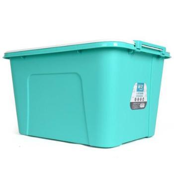 茶花58L带盖收纳箱3个装绿色28100G-3黄色28100H-3