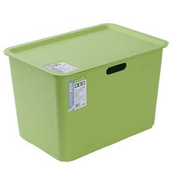 茶花多功能方形收纳箱2只装(9.5L小号+20L大号)灰色绿色2888+2887