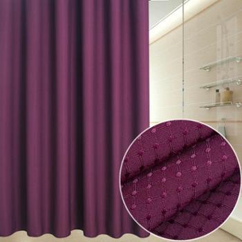动动手 卫生间防水加厚防霉浴帘足球格紫色 宽180*高180cm