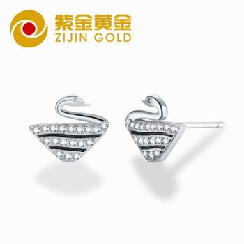紫金黄金 银天鹅耳钉女气质韩国个性简约百搭耳环冷淡风耳环耳饰