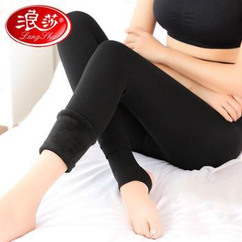 LangSha/浪莎冬季加绒打底裤保暖一体踩脚裤