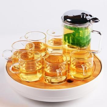 陶立方玻璃茶具套装可加热玻璃茶壶带过滤竹茶盘托盘耐热茶杯TF-5912
