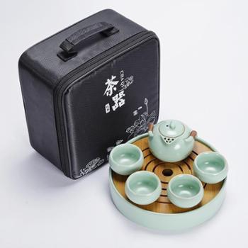 陶立方汝窑陶瓷便携旅行茶具套装一壶四杯茶盘功夫茶具带不锈钢滤网TF-5859