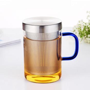 陶立方耐热玻璃花茶泡茶壶玻璃壶凉水壶不锈钢个人杯手把壶时尚茶杯透明杯单个TF-5858