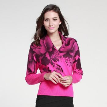 衣锦牧园新款羊绒衫女士大码时尚印花山羊绒衫女装套头V领针织毛衣女