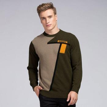 衣锦牧园新款羊绒衫男士商务休闲男装毛衣套头圆领加厚拼色羊绒衫针织衫