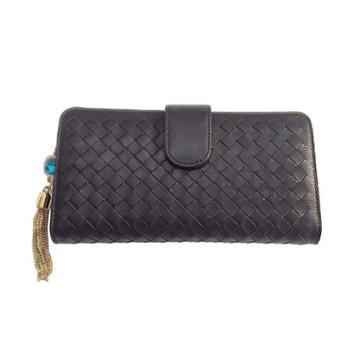 尼诺里拉NINORIVA黑色女士時尚編織长款钱夹NR60325-3