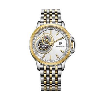 Rossini罗西尼时尚腕表镂空自动机械男表间金白盘钢带8633T01B