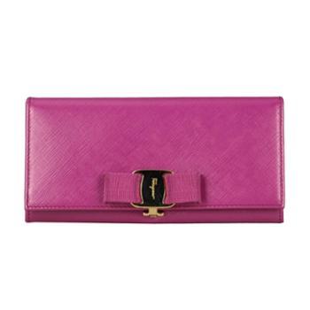 菲拉格慕Ferragamo女士深红色牛皮长款搭扣钱夹22A900656928