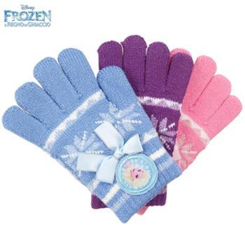 迪士尼冰雪奇缘儿童保暖五指加厚毛线手套6DS005S