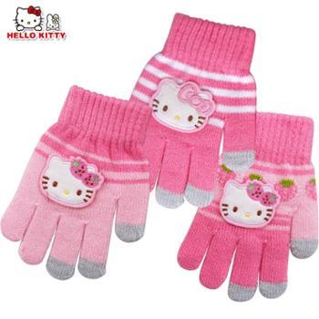 HelloKitty儿童冬款保暖分指五指针织手套