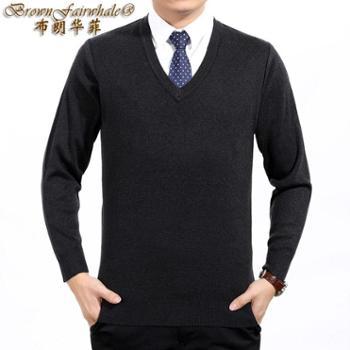 布朗华菲/BrownFairwhale男士长袖毛衣薄款丝光羊毛V领圆领纯色针织衫38859