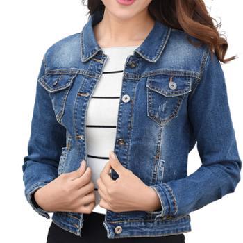 蝶蔓尔女士牛仔外套韩版弹力修身长袖学生短款夹克