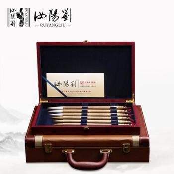 汝阳刘礼品毛笔金丝楠木套装笔狼毫工艺大师制作