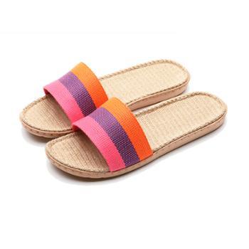 瑶琳 三彩条亚麻拖鞋 夏季凉拖鞋