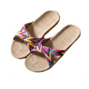 瑶琳亚麻拖鞋 夏季室内地板防滑居家凉拖