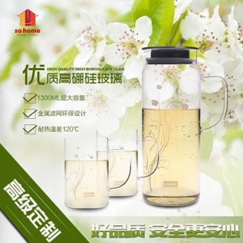 sohome 耐热玻璃水壶 透明冷水壶凉水壶瓶果汁壶水杯水具套装 1300ml