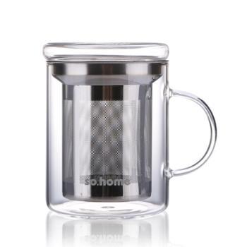 sohome 耐热玻璃茶杯过滤杯个人杯玻璃水杯花茶杯办公杯400ml