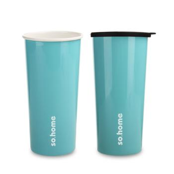 sohome珐琅不锈钢双层杯搪瓷内胆杯办公杯保温德国珐琅原料450ml