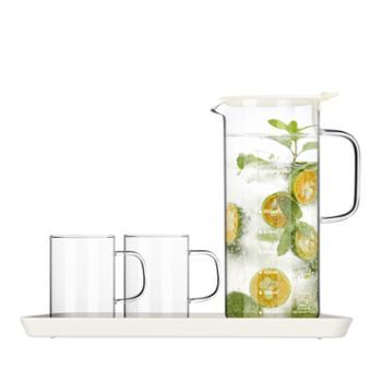 sohome 耐热玻璃冷热水具四件套 凉水壶大容量水杯套装防爆家用