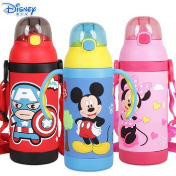 迪士尼儿童380ML可互换手柄背带不锈钢保温吸管杯