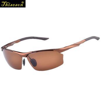 砾石(Thiseson)太阳镜男 偏光 运动镜 户外纯铝镁墨镜 多色骑行运动镜8513