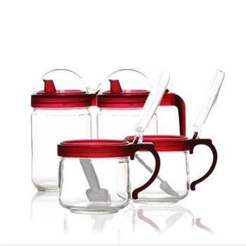 怡福欧 炫彩玻璃调味盒四件套 EGC002T