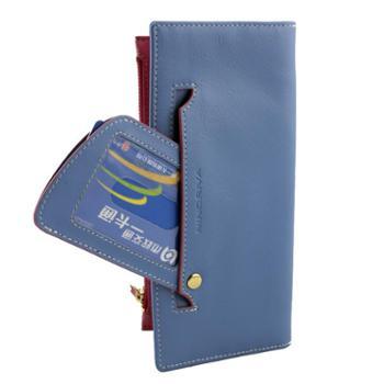 尼诺里拉 NINORIVA 蓝色牛皮革女士长款钱夹 NR60276-3