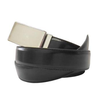 尼诺里拉NINORIVA 黑色 男士商务不锈钢自动扣光面牛皮皮带 NR180021