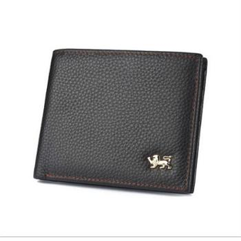 NINORIVA尼诺里拉 棕色 短横款牛皮革男士钱夹 NR60346-1