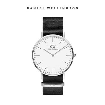 DanielWellington DW手表男石英表40mm银色盘黑色尼龙带手表 DW00100258