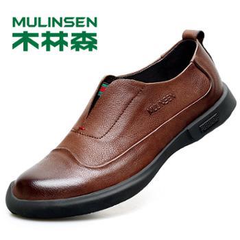 木林森男士头层牛皮户外休闲韩版春季懒人鞋