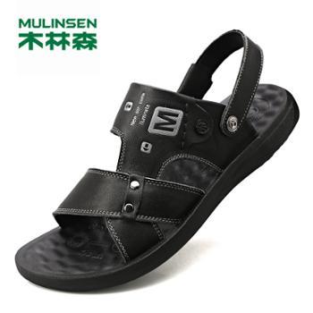 木林森男士夏季款休闲外穿牛皮凉拖鞋