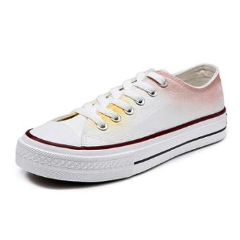 乔驰潮鞋韩版百搭学生低帮平底鞋子透气白色帆布鞋女