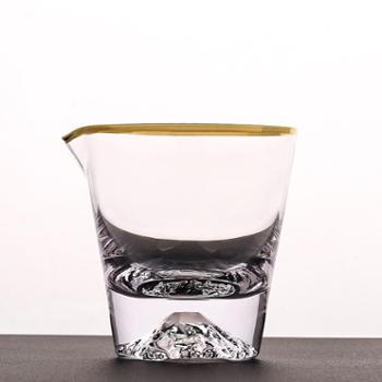 谁美高耐热透明日式雪山玻璃公道杯功夫茶具配件加厚茶海分茶器