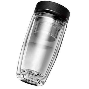 谁美双层玻璃杯男士便携水杯保温随手防摔家用过滤带盖隔热泡茶杯子
