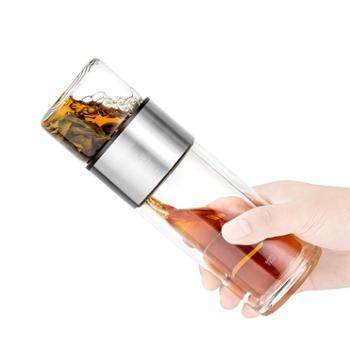 谁美茶水分离泡茶杯双层耐热随身玻璃杯男女便携304不锈钢过滤sm